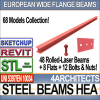 Steel Wide Flange Beams HEA Collection Revit STL Printable