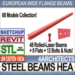 raw steel hea beams obj