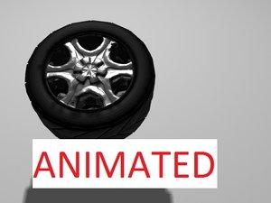 free car tire bouncing 3d model