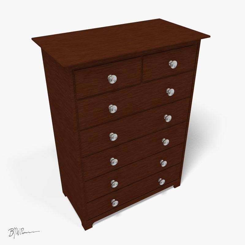wooden dresser 3d model
