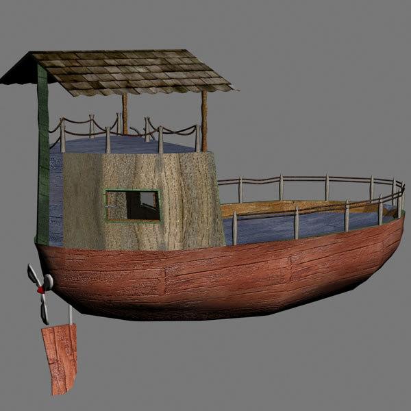 cartoon boat 3d 3ds