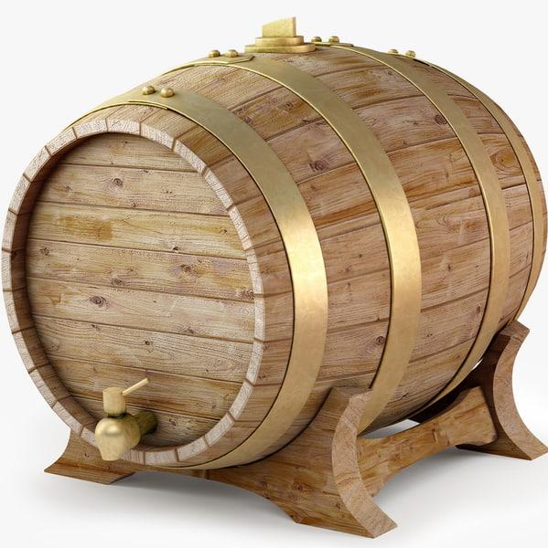 wooden wine barrel obj