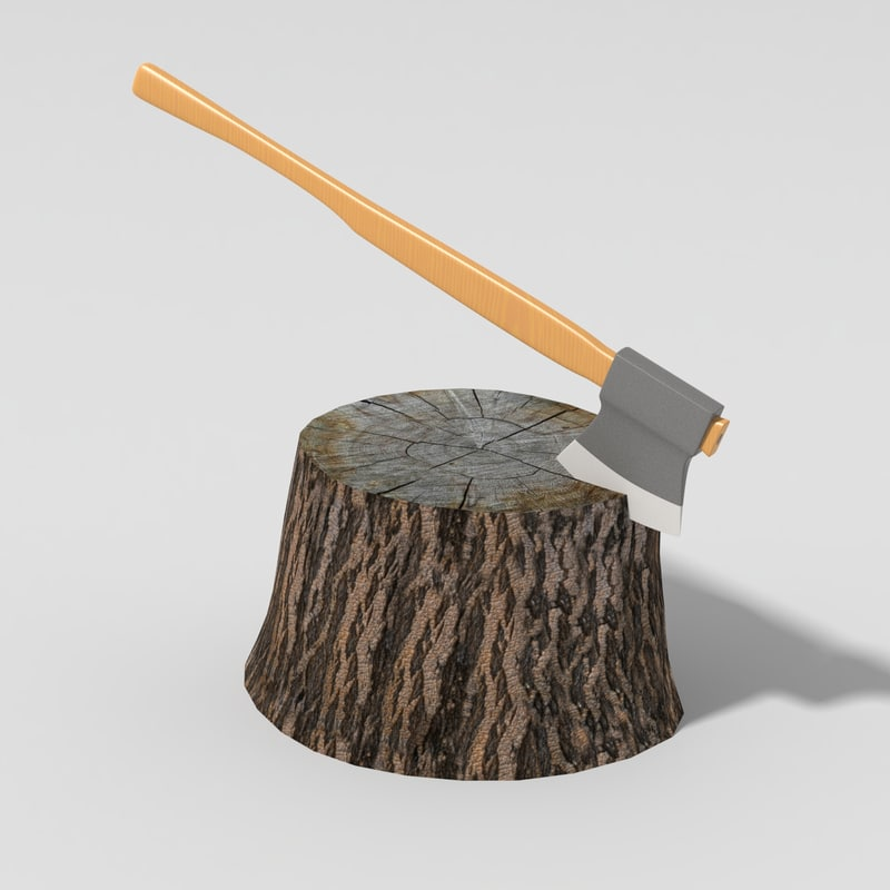lwo axe wood stump