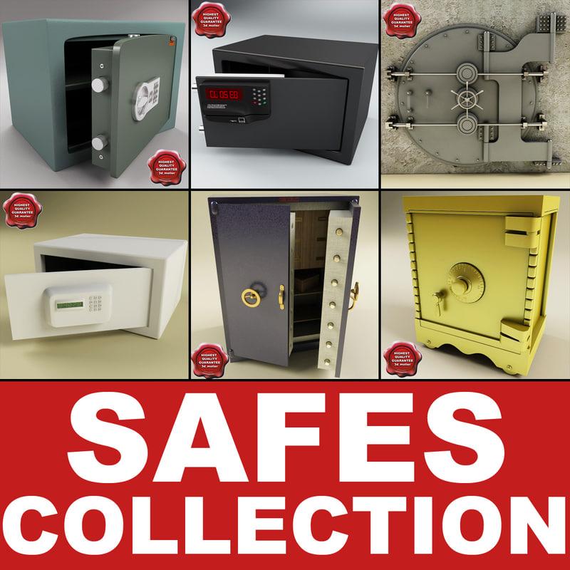 3d safes set modelled model