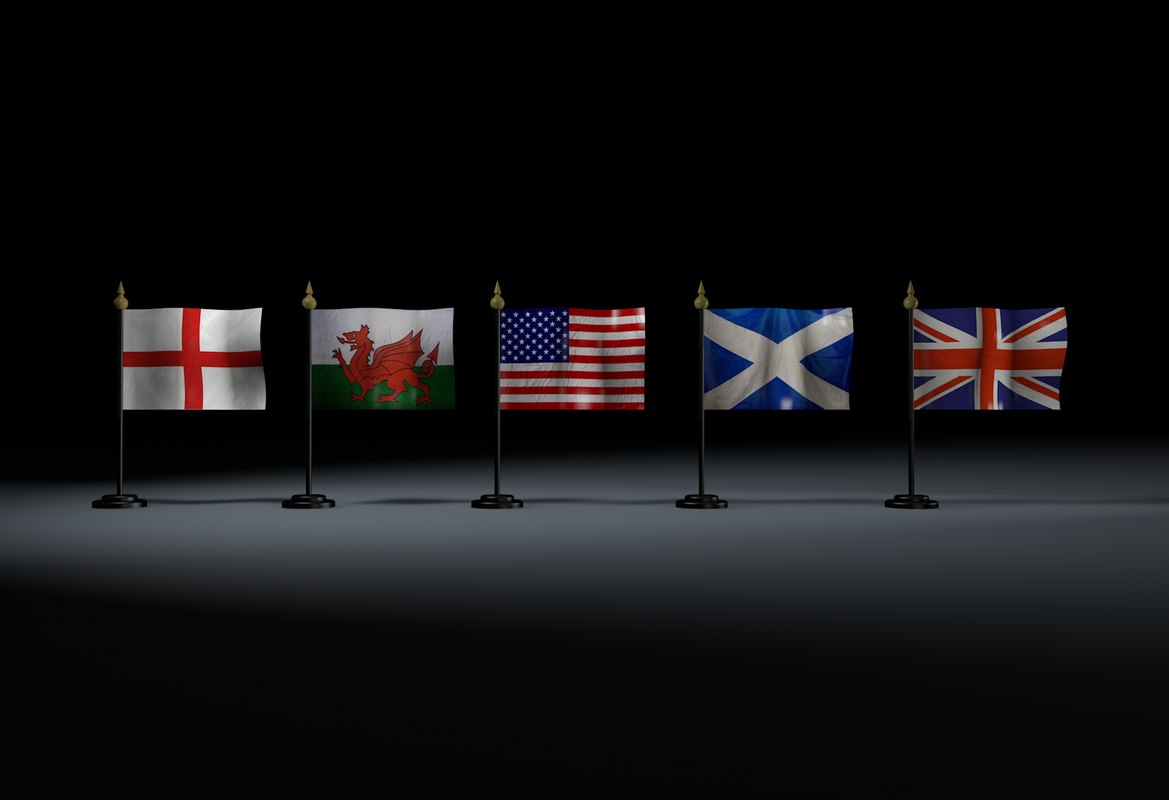 3d model mini flags scottish english