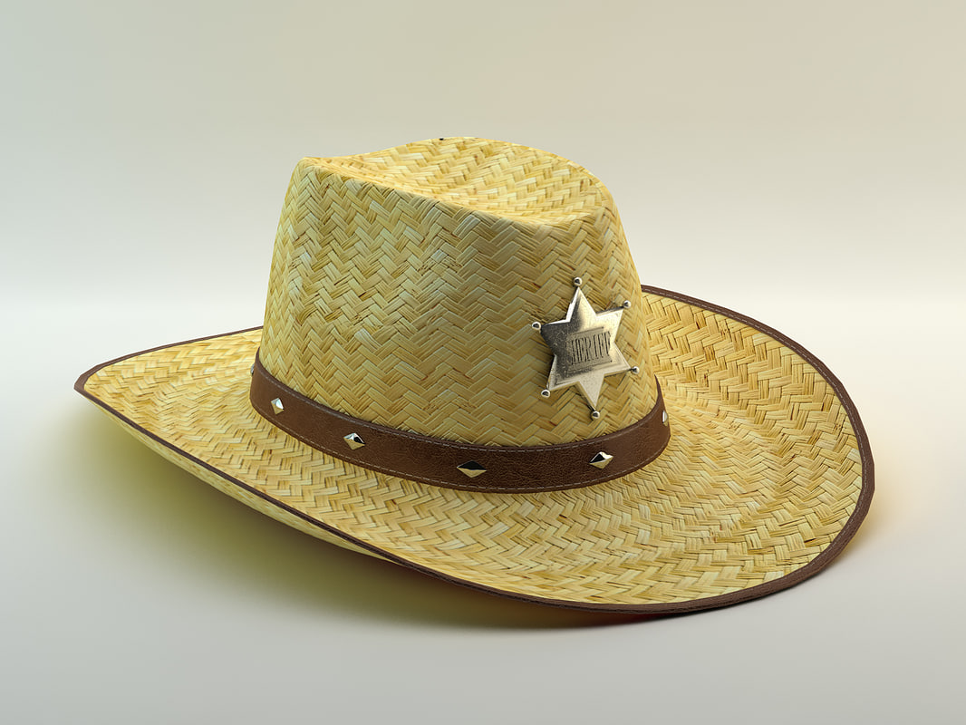 3d model of hat straw cowboy