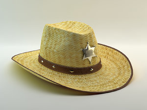 3d model of hat straw cowboy