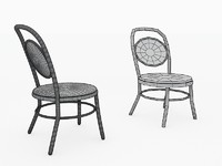 cafe chair black circle 3ds