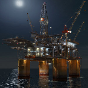 oil rig night scene max