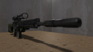 3d model of modern weapon sr25