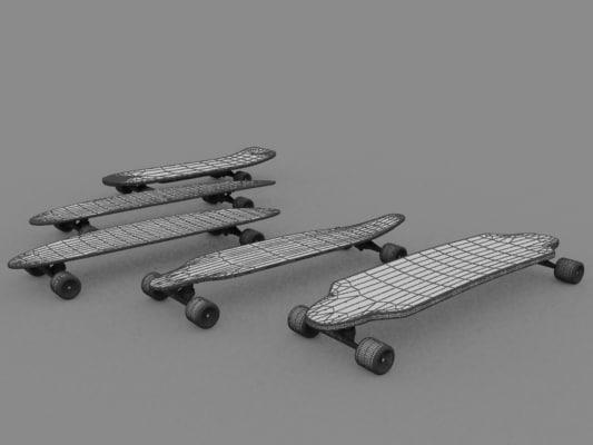 longboard skates 3d 3ds