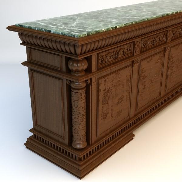 3d model bar details materials