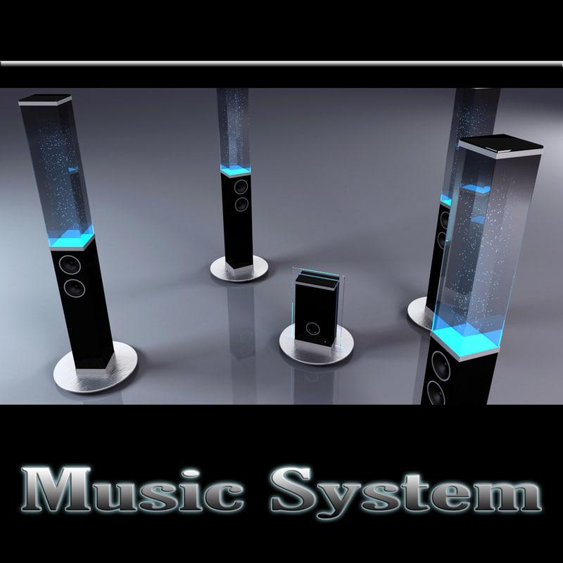 3d model music water speakers