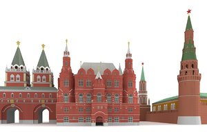 red square moscow kremlin 3d model