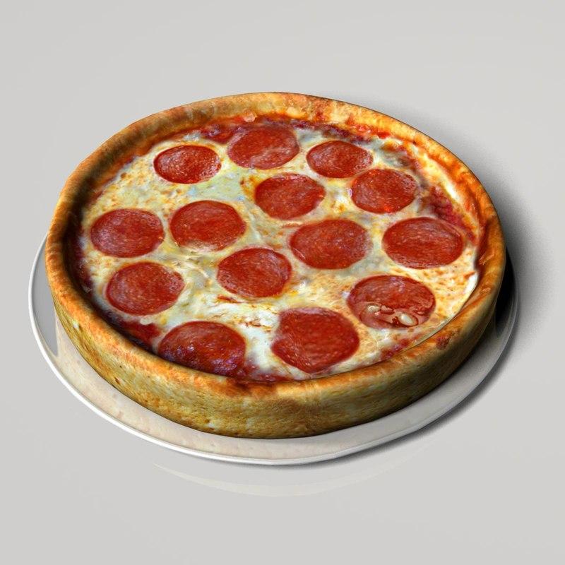 3d model deep-dish pizza