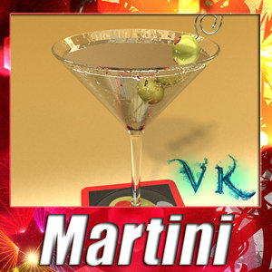photorealistic martini liquor glass 3d model
