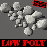 Rocks - Stones 11 Low Poly Smooth RM19 - Chalk White 3D Rocks or Stones