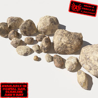 Rocks - Stones 12 Smooth RS56 - Dirty Tan 3D Rocks or Stones