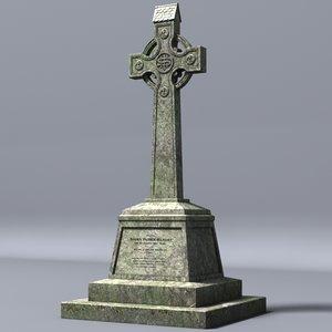 3d model celtic gravestone