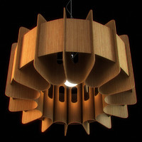 CGAxis Chandelier with Wooden Lampshade 01