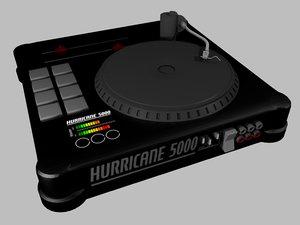 obj black dj turntable console