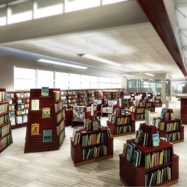 max library shelves kiosks