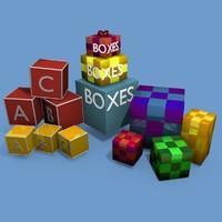 3d blend set boxes