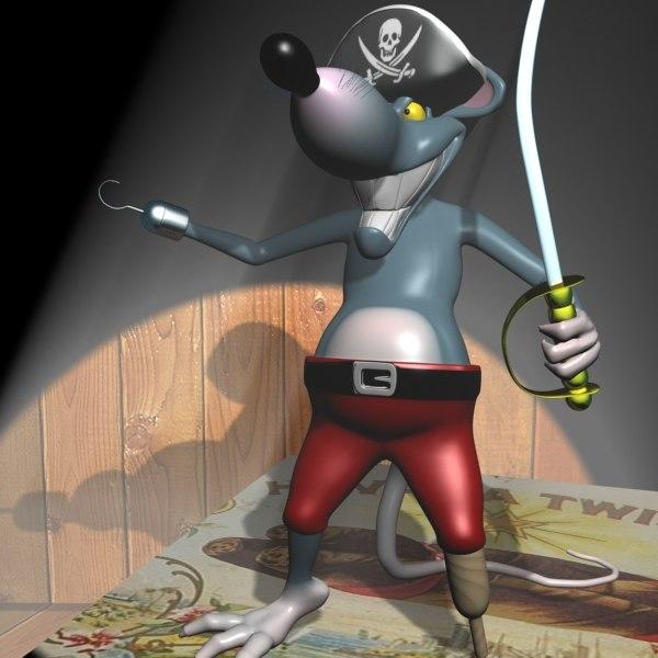 3d cartoon rats rigged pirate model