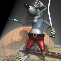 3d cartoon rats rigged pirate model