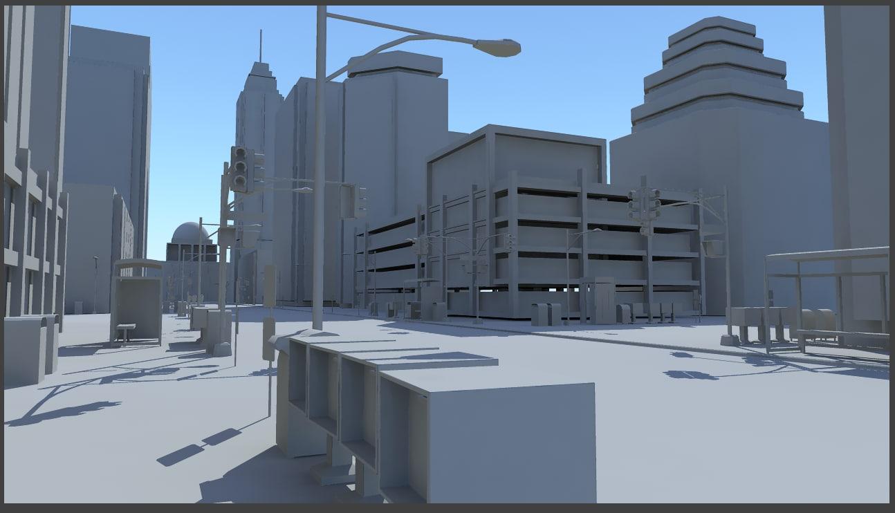 obj cityscape skyscrapers