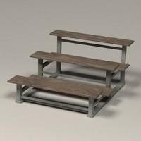 stadium benches 3d model