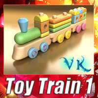 Wooden toys - Wooden Train + High resolution texture