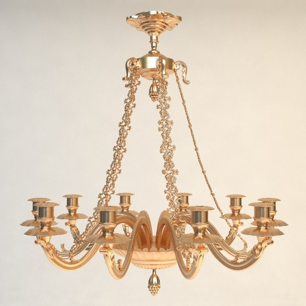 antique chandelier details 3d 3ds