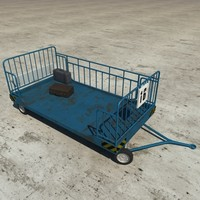 airport cargo trolley 3d c4d