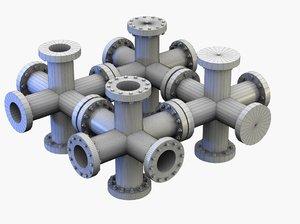 3d big cross pipes modelled model