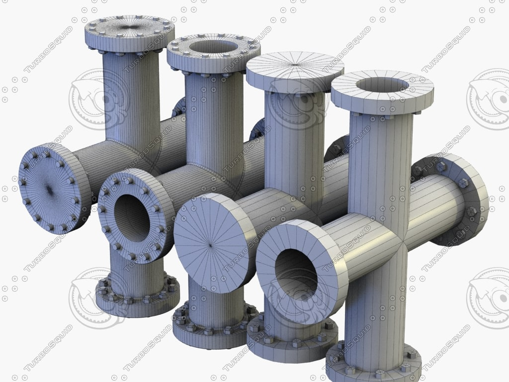 3d pipe cross modelled