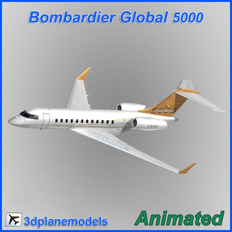 3d bombardier global 5000 model