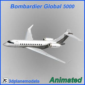 3d model bombardier global 5000