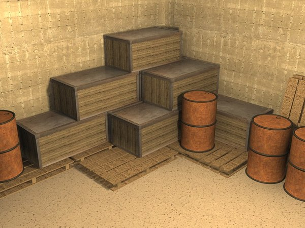 free crates pallets oil 3d model