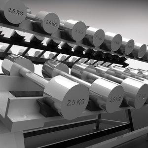 3d model dumbell rack