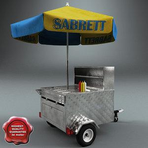 hot dog cart v3 3d model