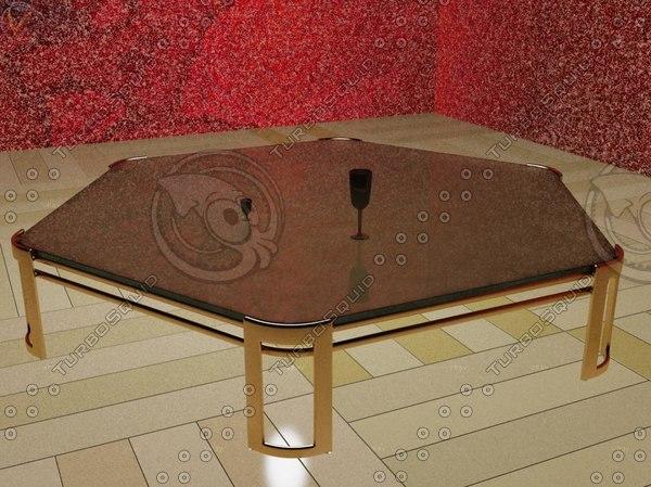 3d model hexagonal glass table