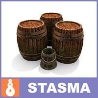 free wooden barrels 3d model