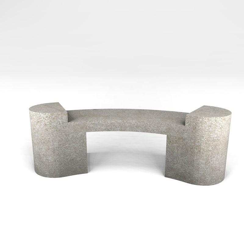 stone bench 3d obj