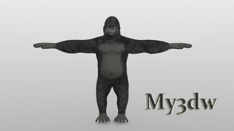 3d model gorilla monkey ape