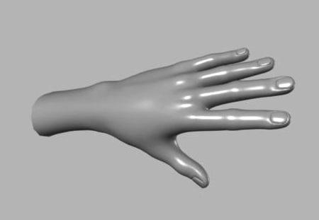maya polygonal human hand