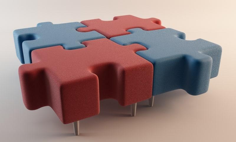 3d model jigsaw seat
