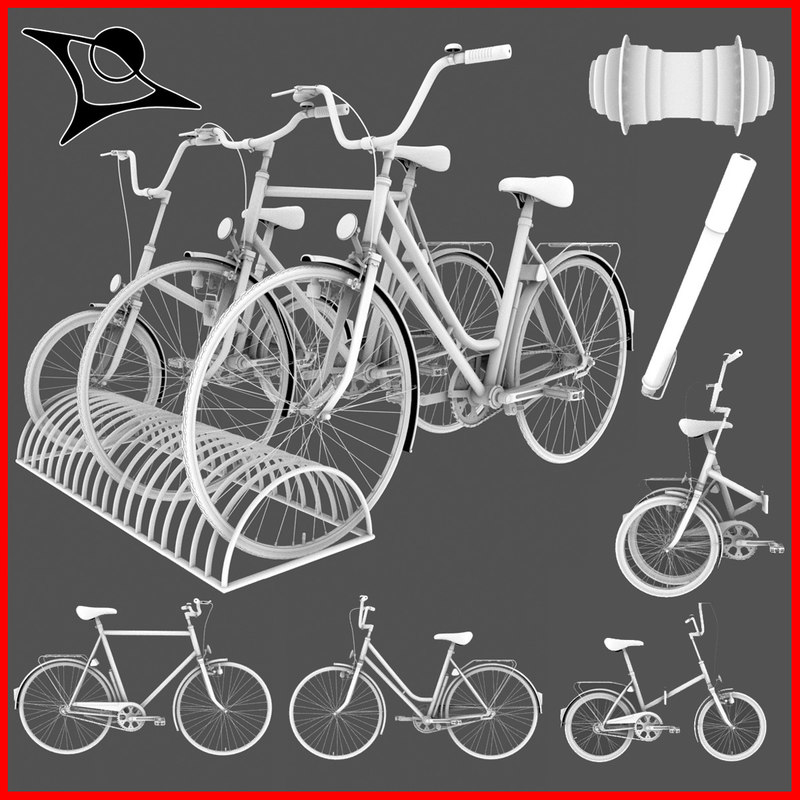 3d model typical old bikes