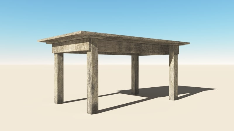 3d rustic wooden table wood
