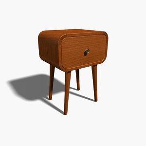 3d 1950s table teak model